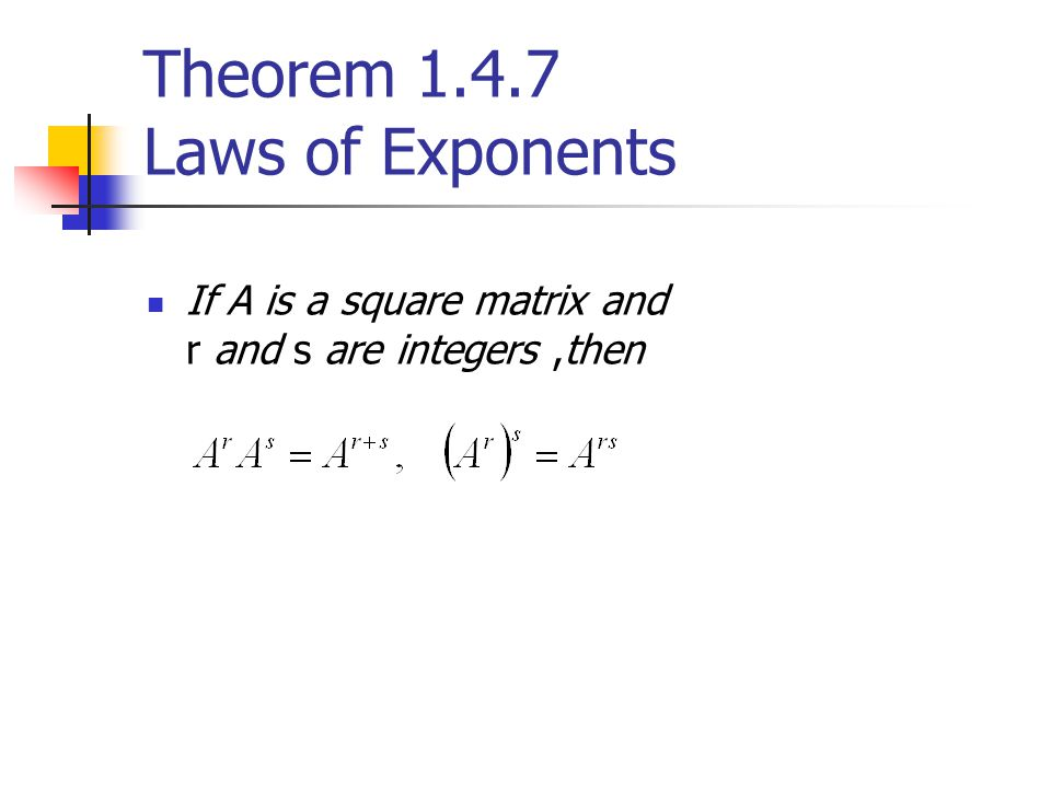 Theorem 1.4.7 Laws of Exponents If A is a square matrix and r and s are integers,then