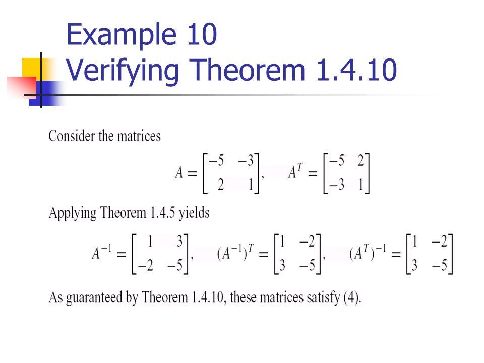 Example 10 Verifying Theorem 1.4.10