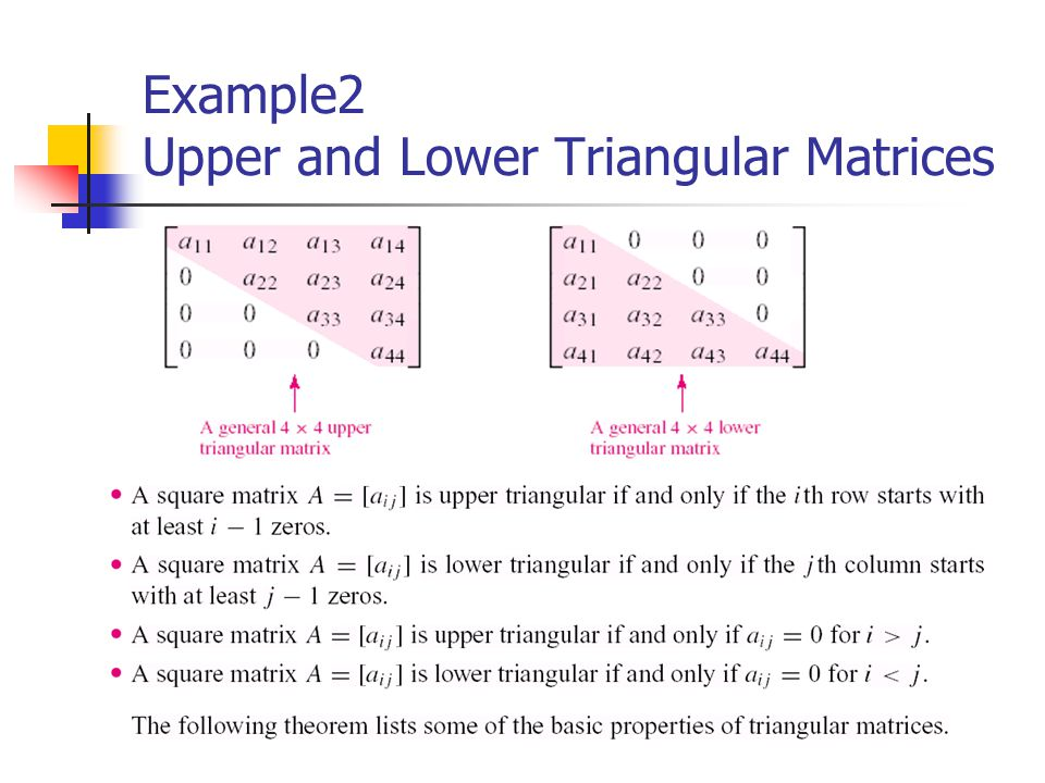 Example2 Upper and Lower Triangular Matrices