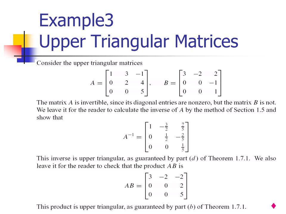 Example3 Upper Triangular Matrices