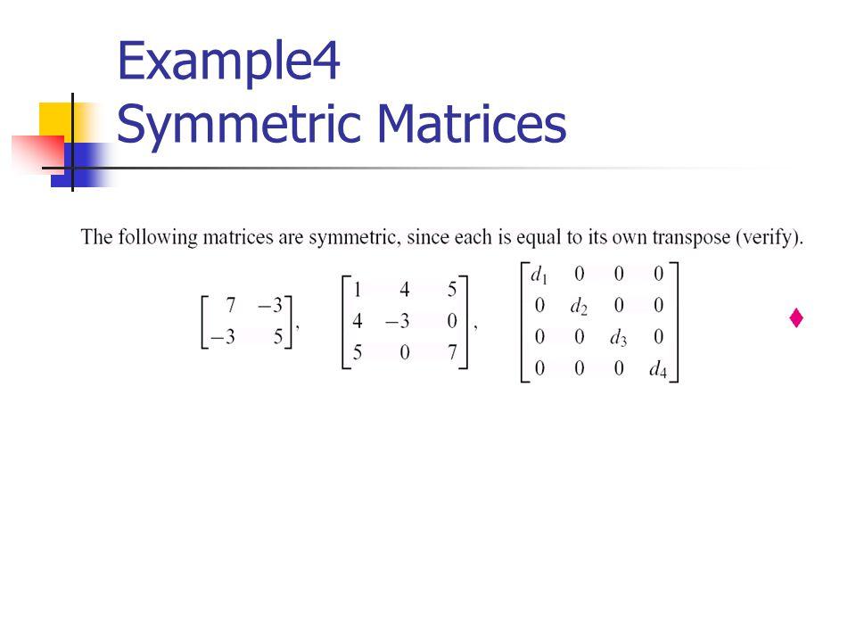 Example4 Symmetric Matrices