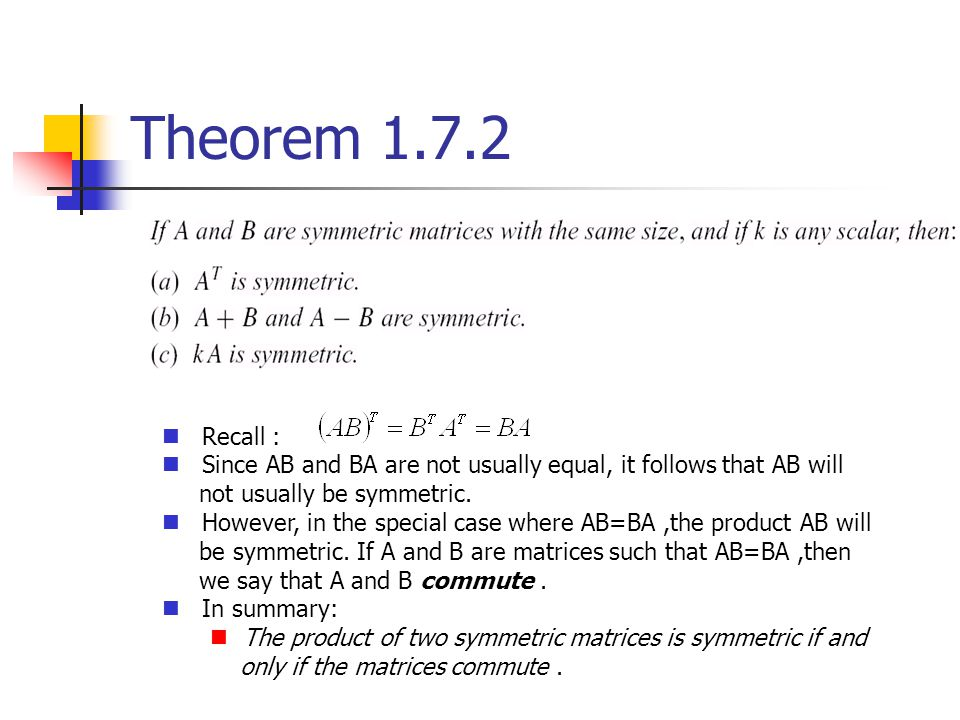 Theorem 1.7.2 Recall : Since AB and BA are not usually equal, it follows that AB will not usually be symmetric. However, in the special case where AB=