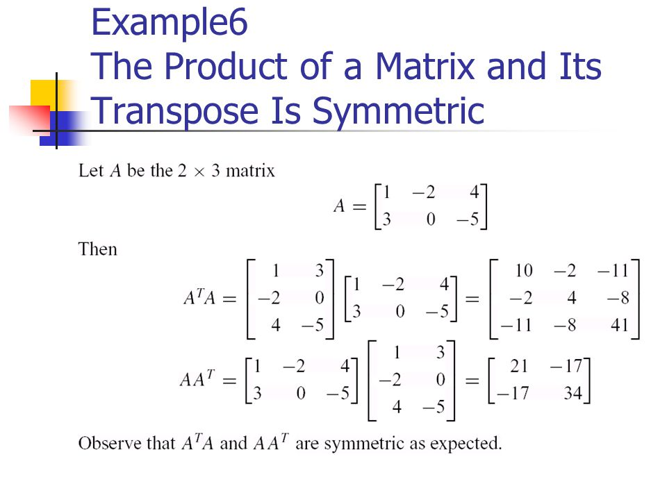 Example6 The Product of a Matrix and Its Transpose Is Symmetric