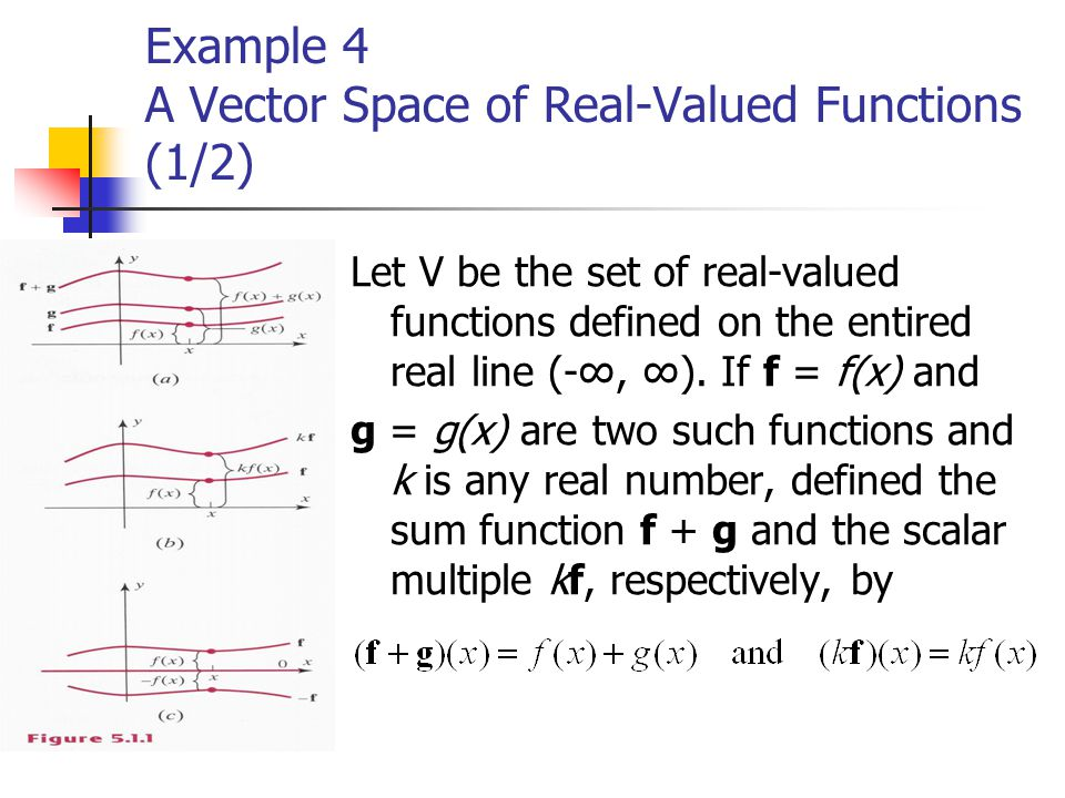 Example 4 A Vector Space of Real-Valued Functions (1/2) Let V be the set of real-valued functions defined on the entired real line (-∞, ∞). If f = f(x