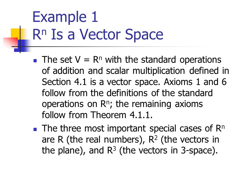 Example 1 R n Is a Vector Space The set V = R n with the standard operations of addition and scalar multiplication defined in Section 4.1 is a vector