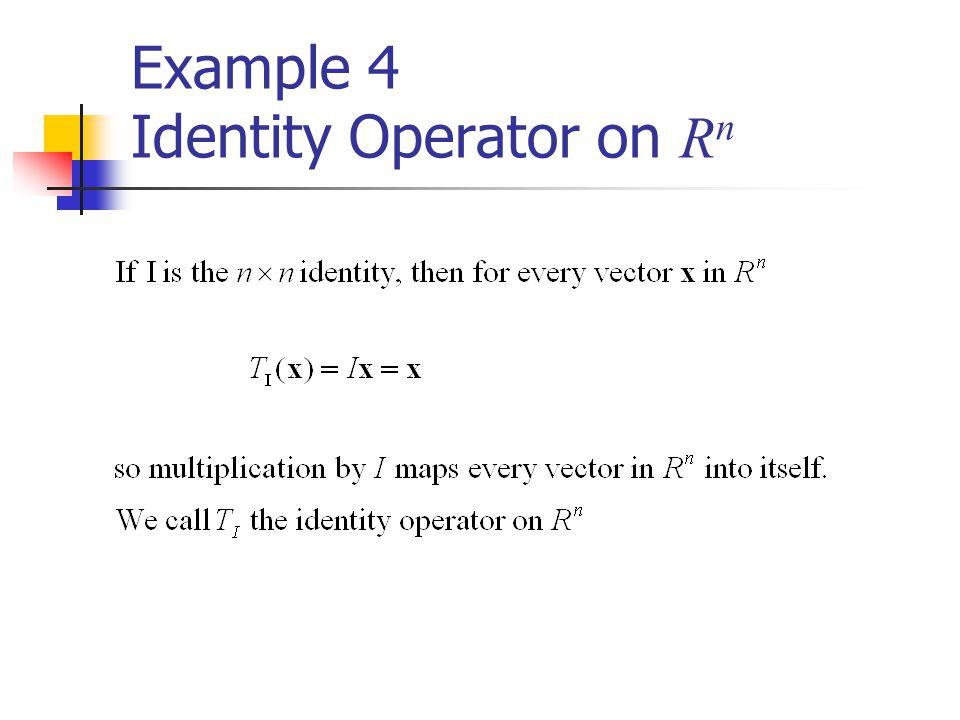 Example 4 Identity Operator on R n