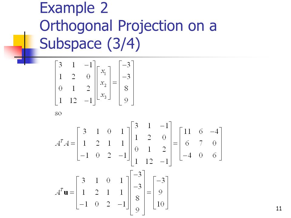 11 Example 2 Orthogonal Projection on a Subspace (3/4)