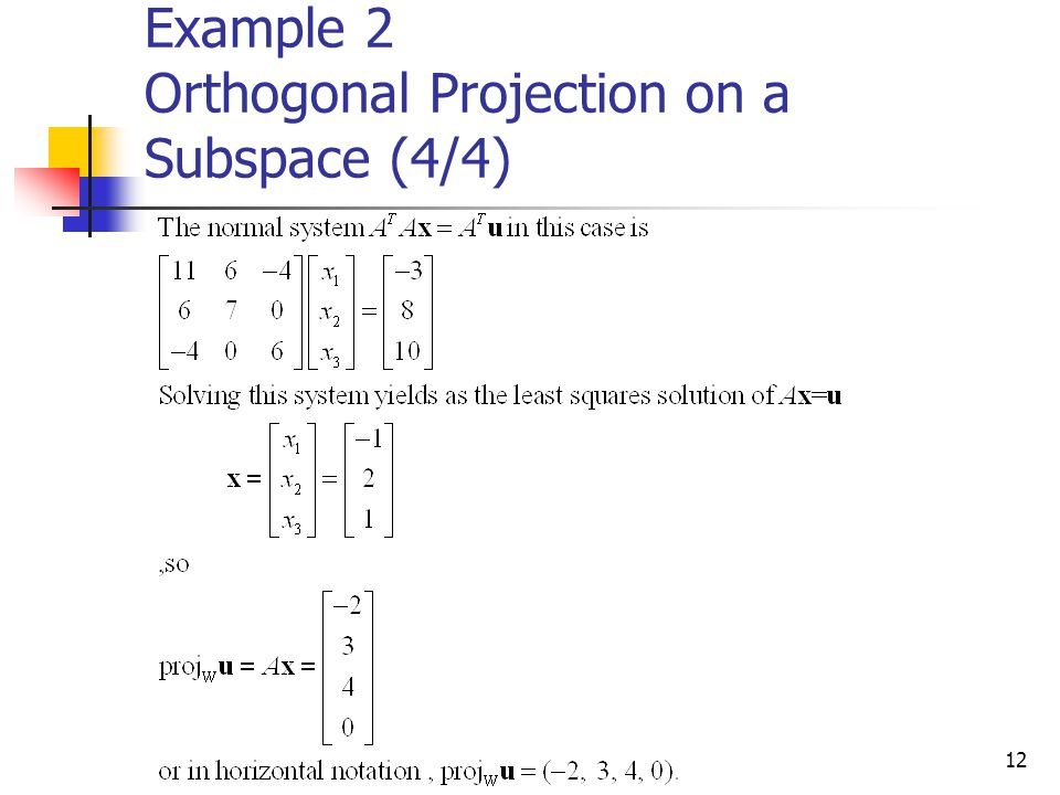 12 Example 2 Orthogonal Projection on a Subspace (4/4)