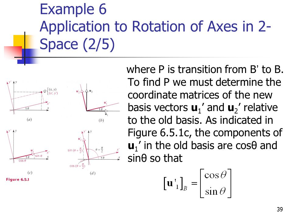 39 Example 6 Application to Rotation of Axes in 2- Space (2/5) where P is transition from B ' to B. To find P we must determine the coordinate matrice