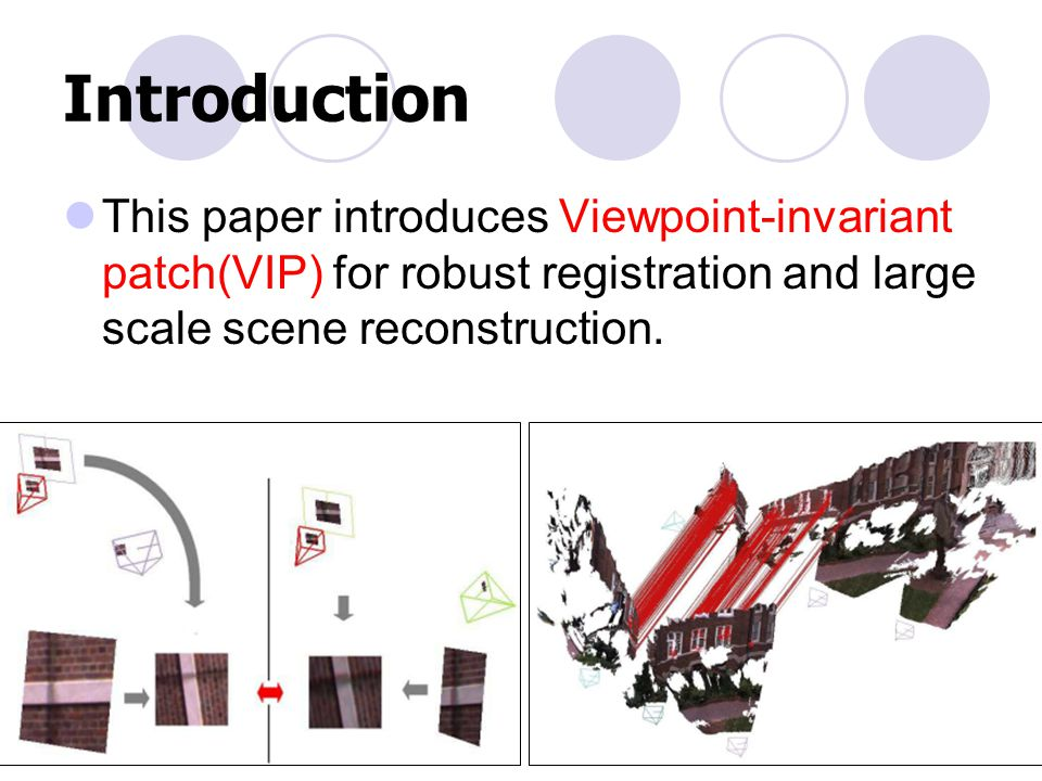 Introduction This paper introduces Viewpoint-invariant patch(VIP) for robust registration and large scale scene reconstruction.