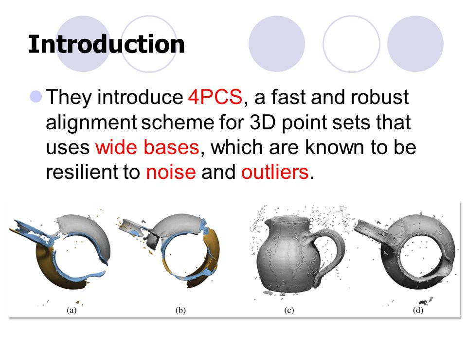 Introduction They introduce 4PCS, a fast and robust alignment scheme for 3D point sets that uses wide bases, which are known to be resilient to noise