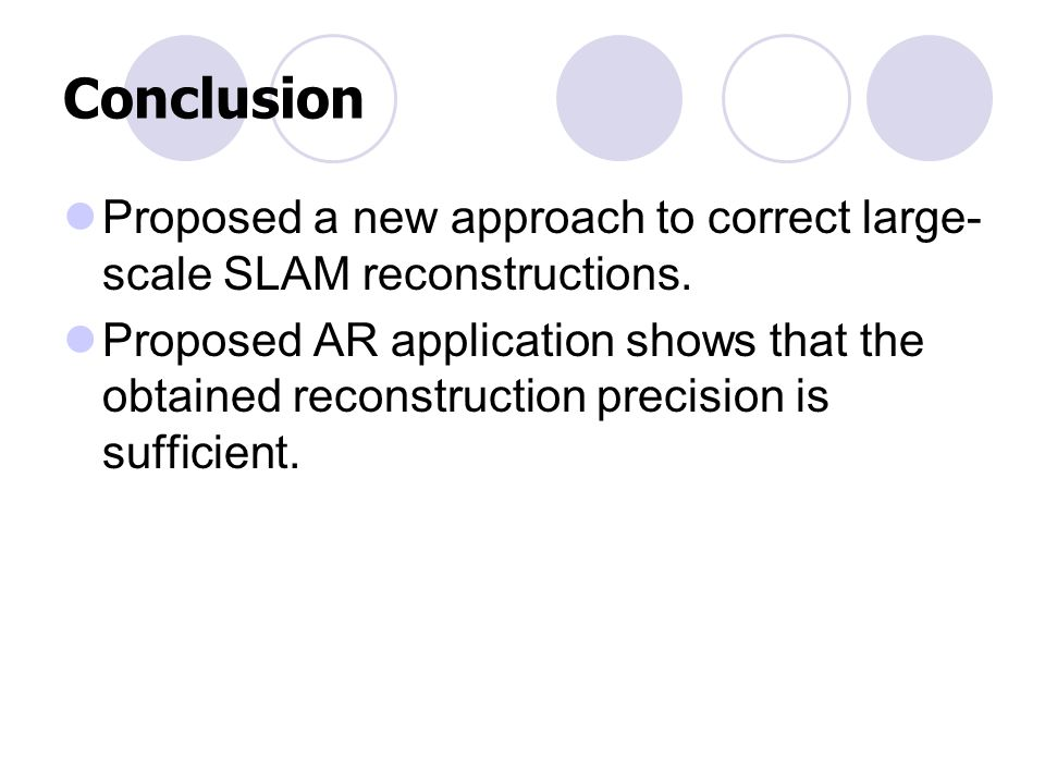 Conclusion Proposed a new approach to correct large- scale SLAM reconstructions.