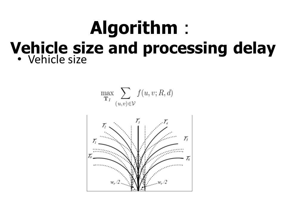 Algorithm : Vehicle size and processing delay Vehicle size