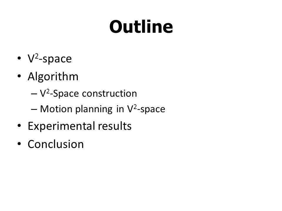 Outline V 2 -space Algorithm – V 2 -Space construction – Motion planning in V 2 -space Experimental results Conclusion