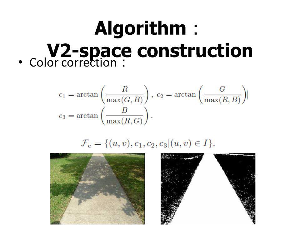Algorithm : V2-space construction Surface verification : Obstacles detection :