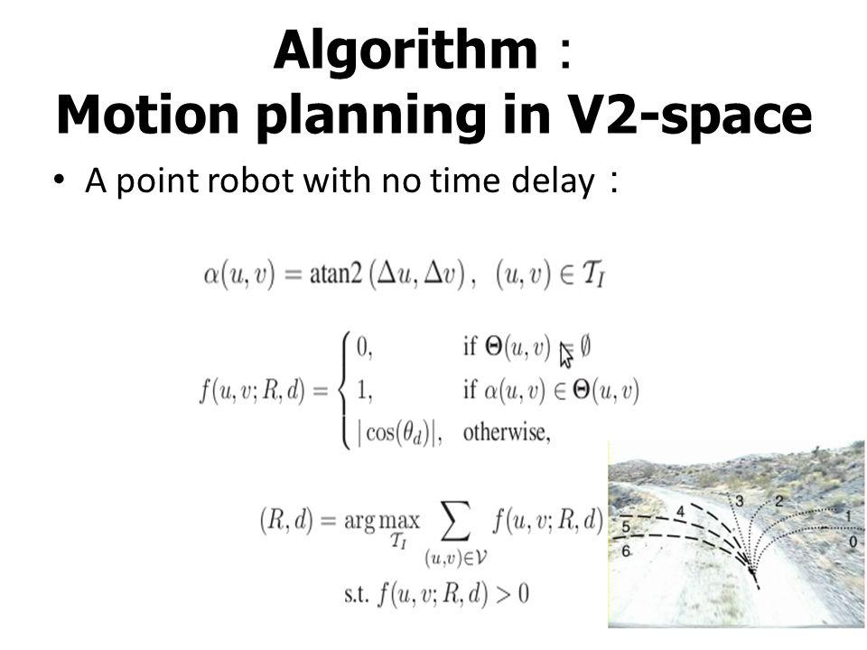 Algorithm : Motion planning in V2-space Choose the velocity profile v p (t) The motorcycle cannot run too fast for a given trajectory radius R.