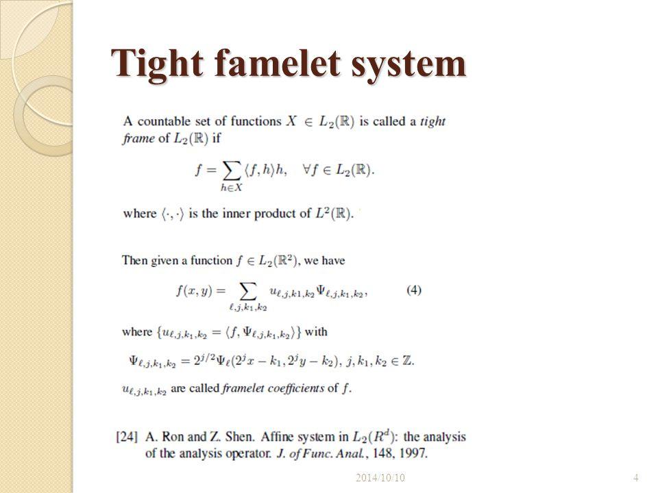 Sparse representation under framelet and curvelet system 2014/10/105