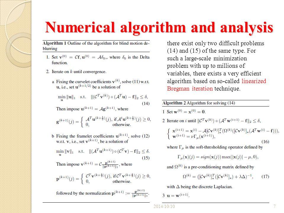 Numerical algorithm and analysis 2014/10/108