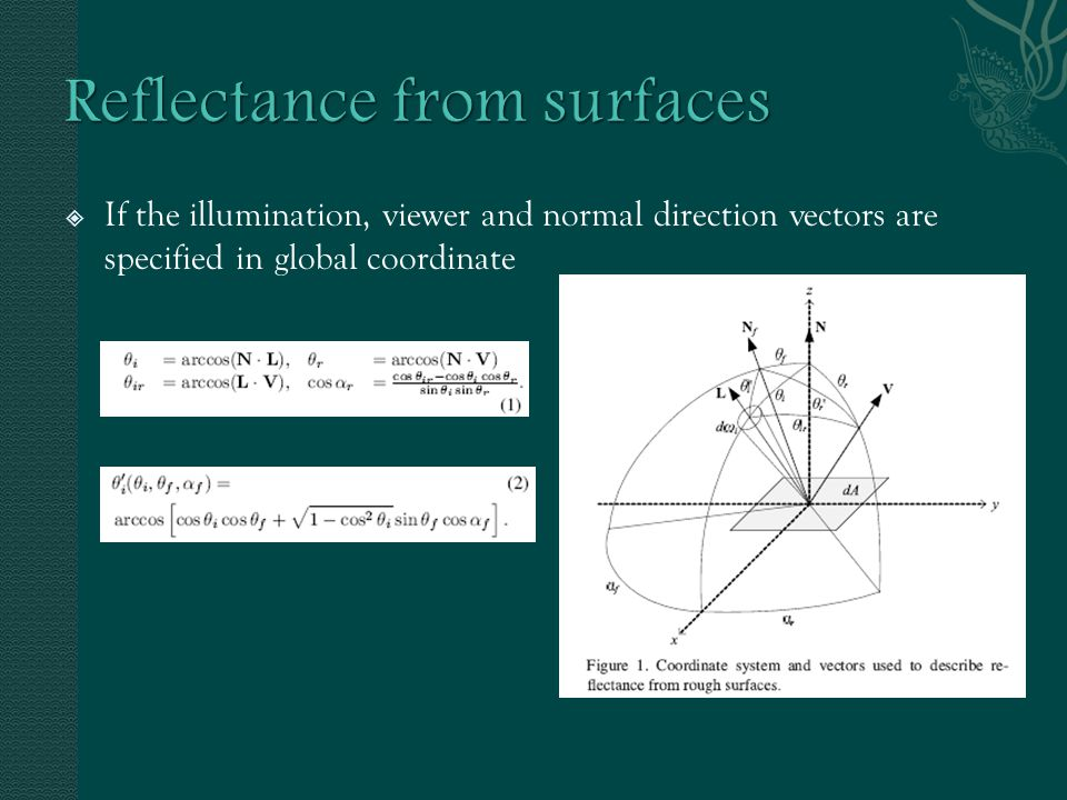  If the illumination, viewer and normal direction vectors are specified in global coordinate