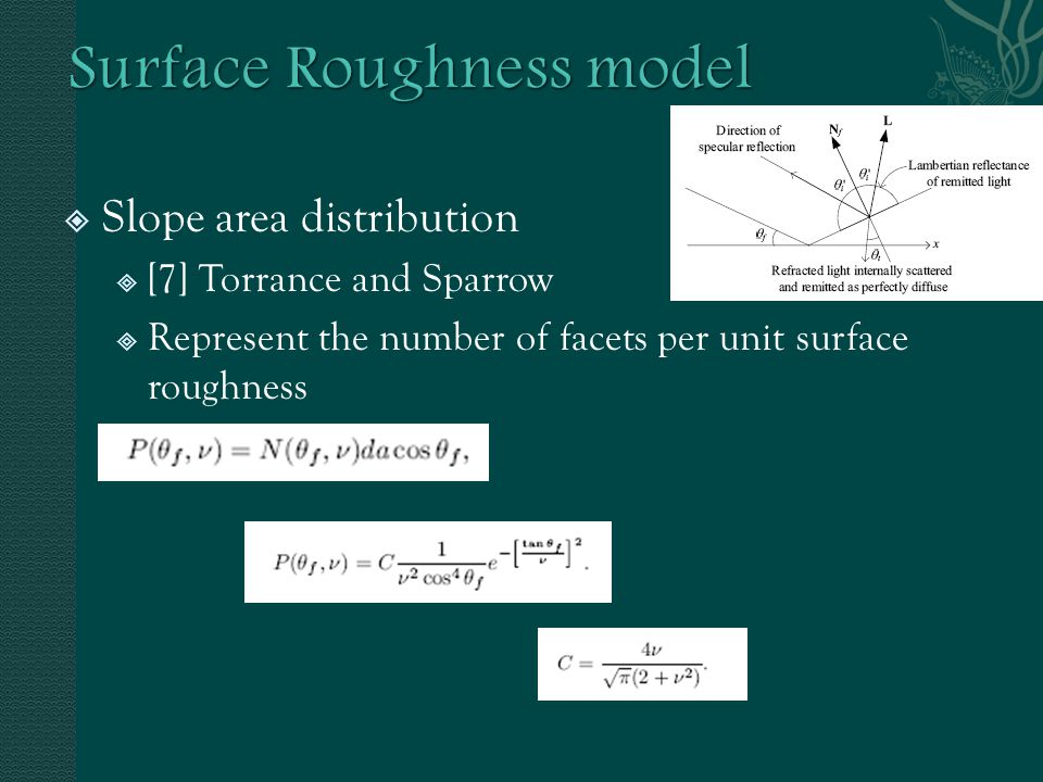  Slope area distribution  [7] Torrance and Sparrow  Represent the number of facets per unit surface roughness