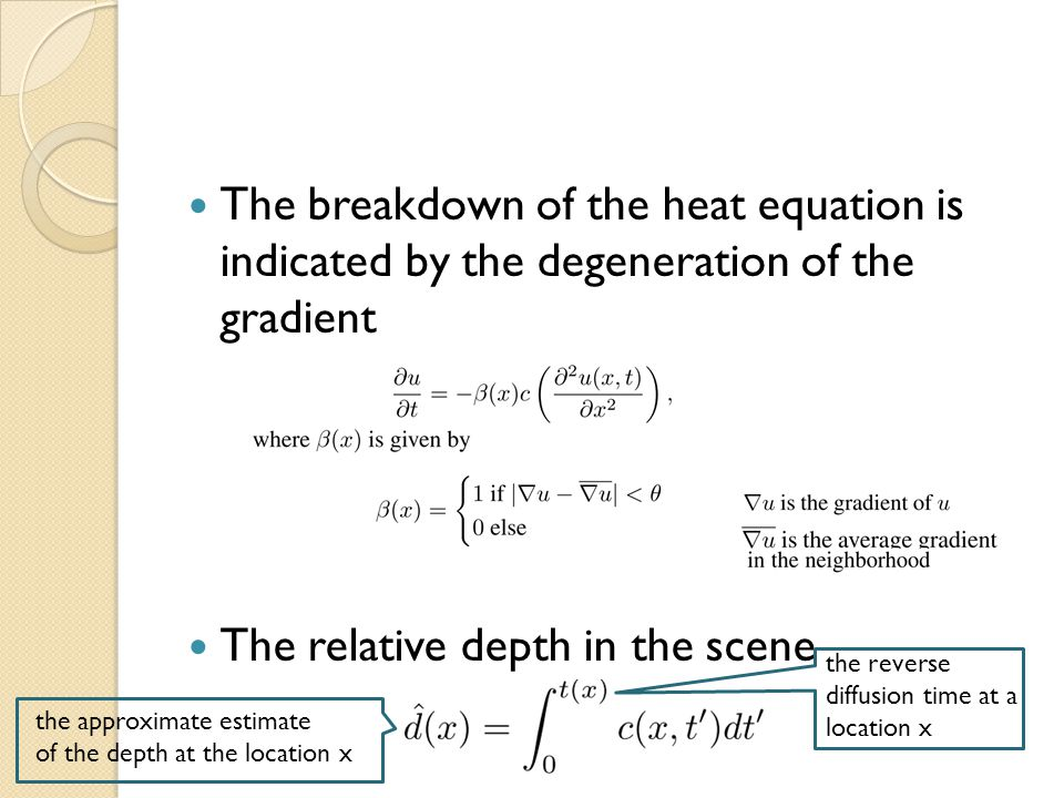 The breakdown of the heat equation is indicated by the degeneration of the gradient The relative depth in the scene the approximate estimate of the depth at the location x the reverse diffusion time at a location x