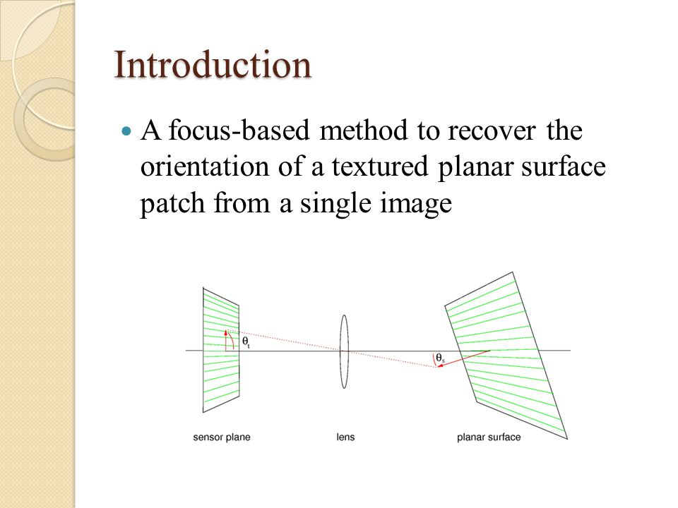 Introduction A focus-based method to recover the orientation of a textured planar surface patch from a single image