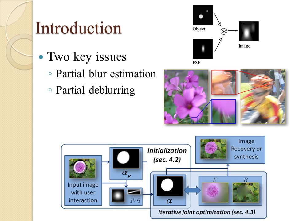 Introduction Two key issues ◦ Partial blur estimation ◦ Partial deblurring