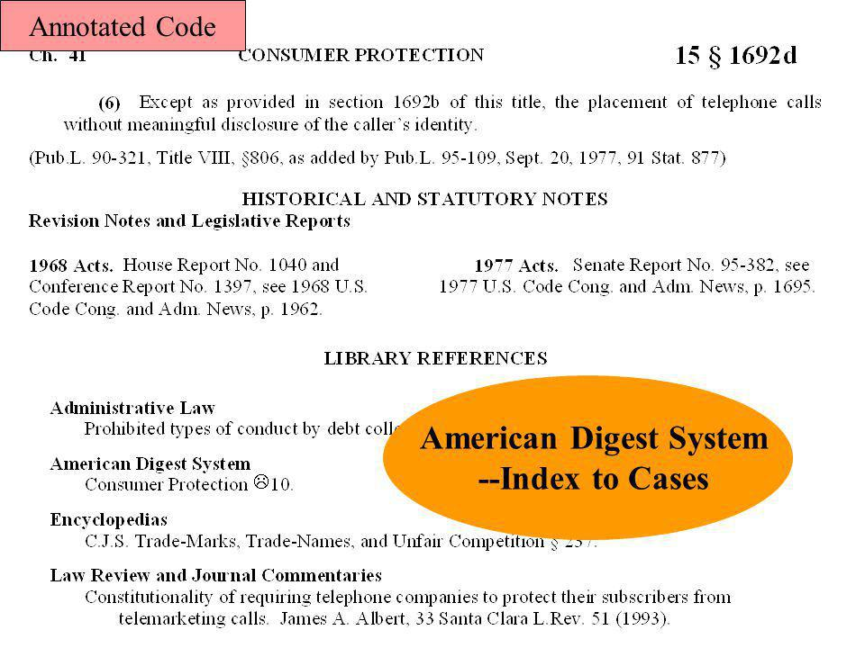 American Digest System --Index to Cases Annotated Code