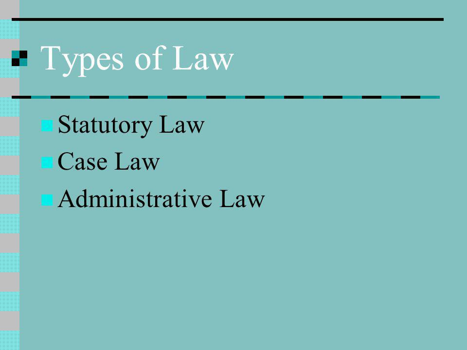 Types of Law Statutory Law Case Law Administrative Law