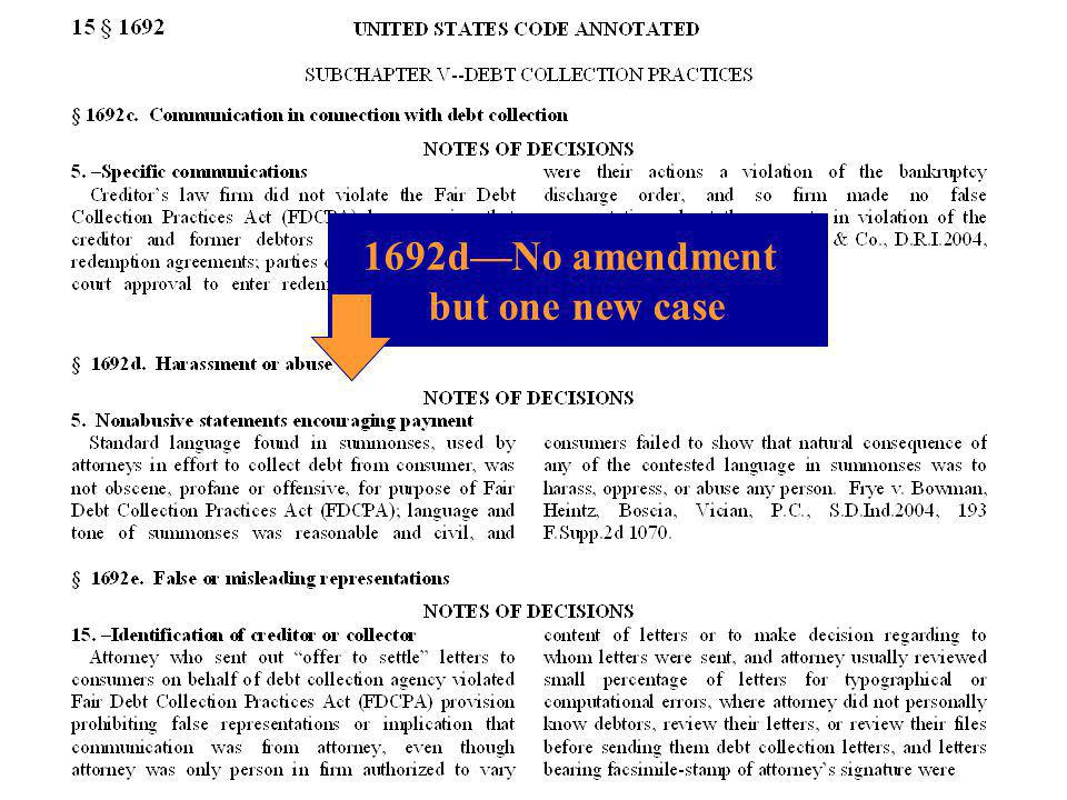 1692d—No amendment but one new case