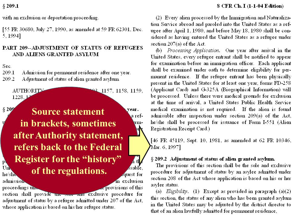 Source statement in brackets, sometimes after Authority statement, refers back to the Federal Register for the history of the regulations.