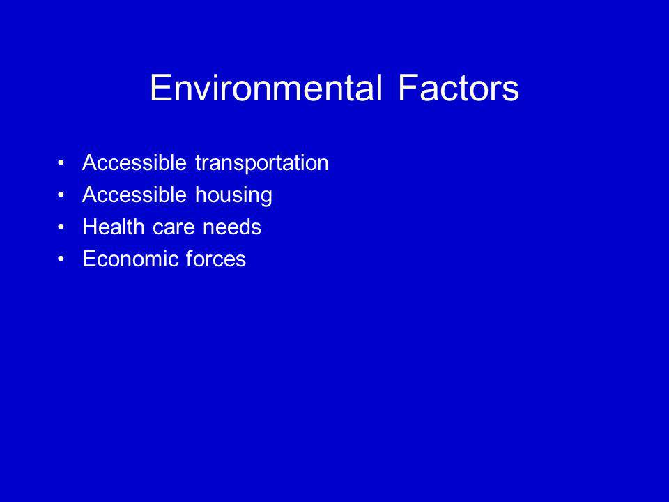 Environmental Factors Accessible transportation Accessible housing Health care needs Economic forces