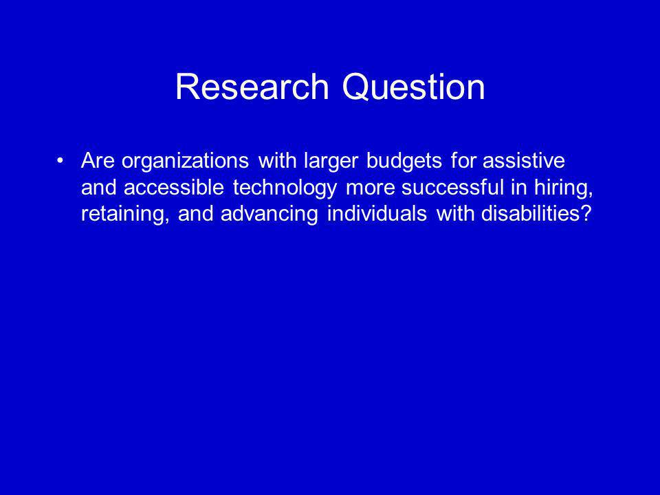Research Question Are organizations with larger budgets for assistive and accessible technology more successful in hiring, retaining, and advancing in