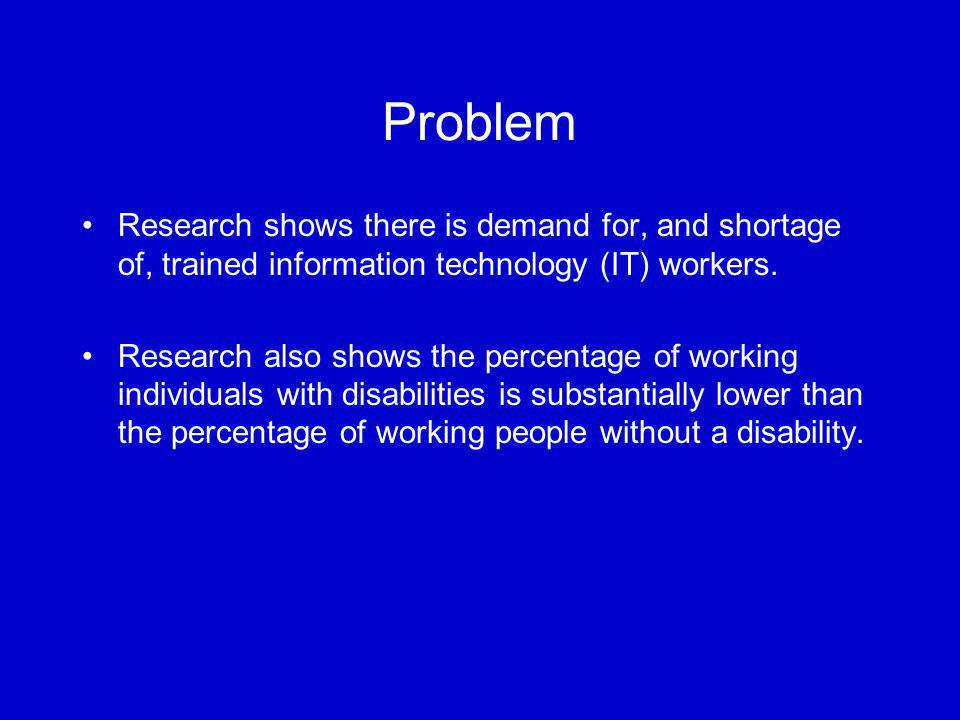 Problem Research shows there is demand for, and shortage of, trained information technology (IT) workers. Research also shows the percentage of workin