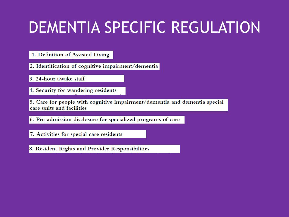 DEMENTIA SPECIFIC REGULATION