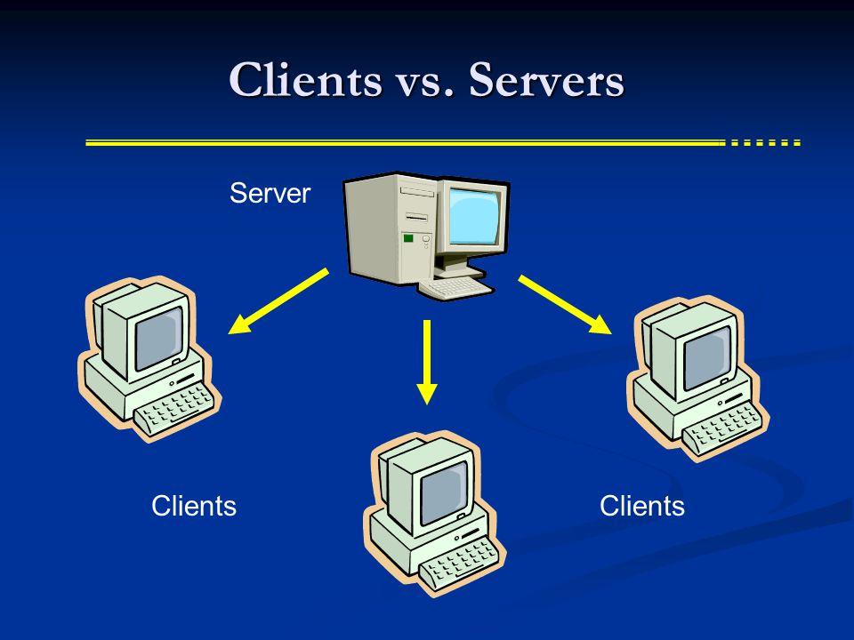 Clients vs. Servers Clients Server