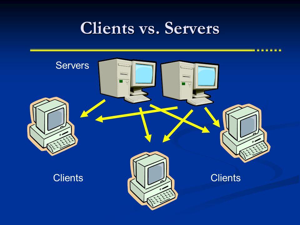 Clients vs. Servers Server Clients Servers