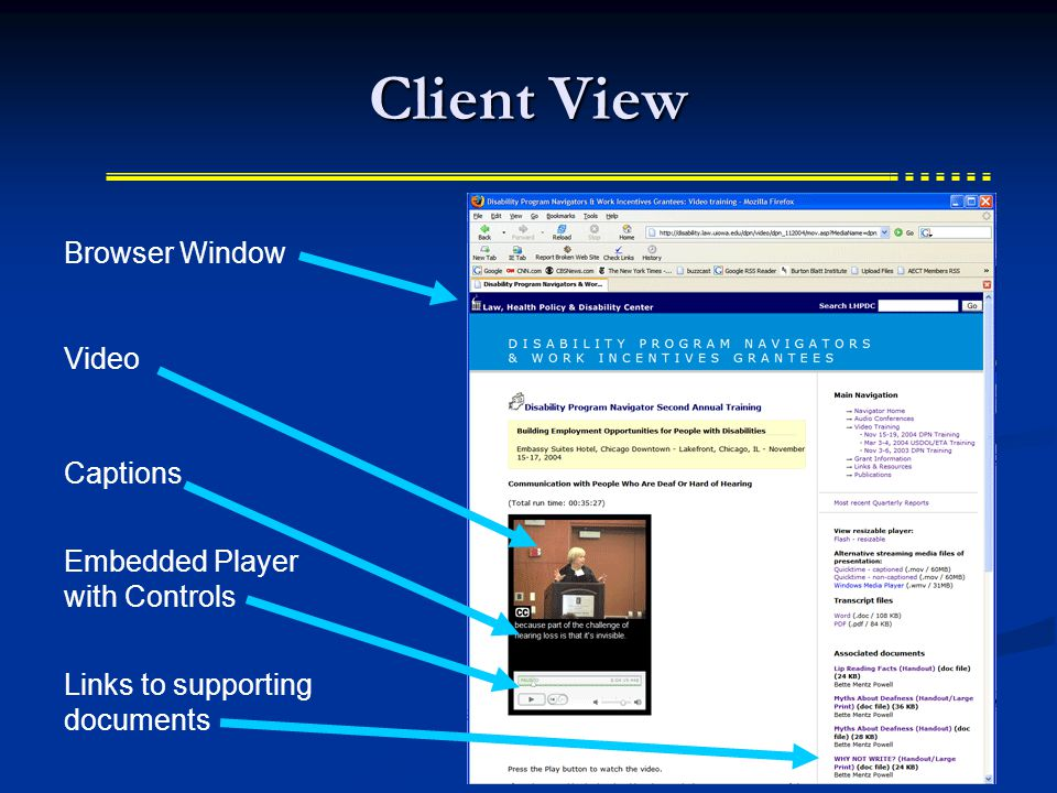Client View Browser Window Embedded Player with Controls Video Captions Links to supporting documents