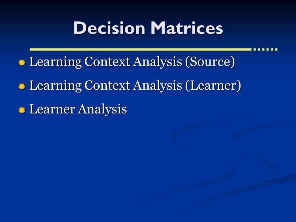 Decision Matrices  Learning Context Analysis (Source)  Learning Context Analysis (Learner)  Learner Analysis