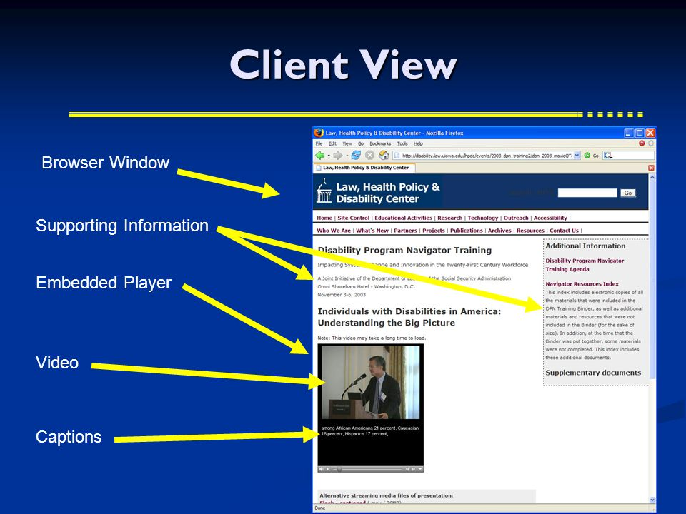 Client View Browser Window Embedded Player Video Captions Supporting Information