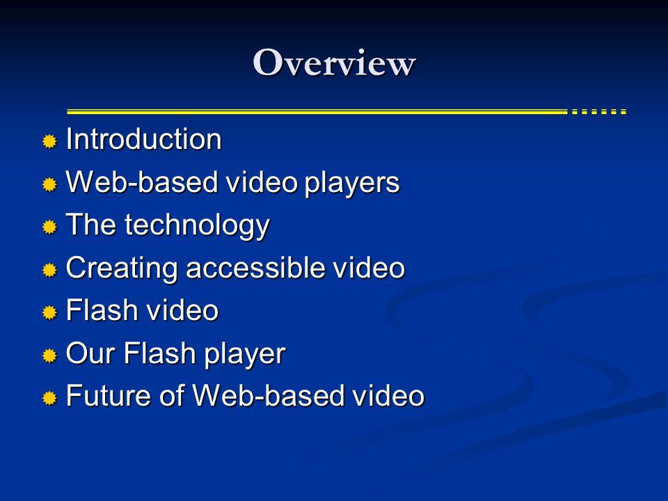 Final Assembly (Windows Media Player)  The movie - moviename.wmv  The SAMI file - moviename.smi  Captions and timing info  The ASX file - moviename.asx  Includes URLs to movie & caption files User must toggle captions in Windows Media Player View menu