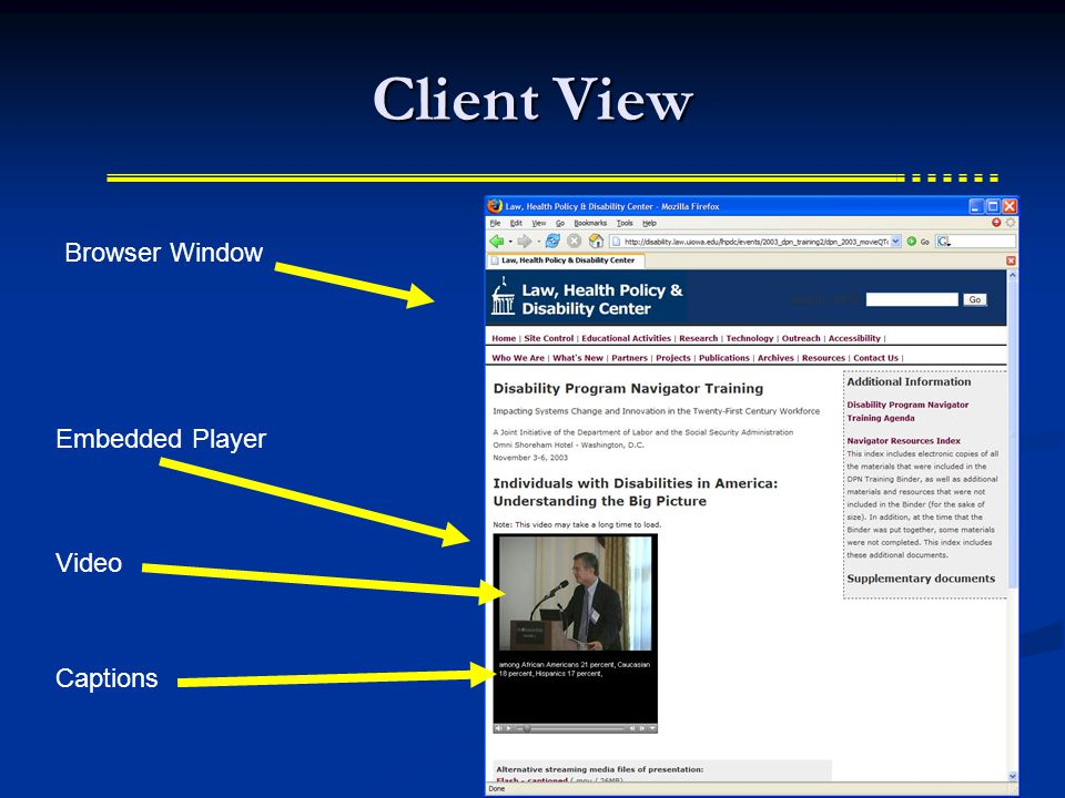 The Player / Plug-in  Embeds the player in the browser  ActiveX  Internet Explorer  Plug-ins  Netscape  Firefox  Opera  Need to account for both in the HTML  User must install if not available