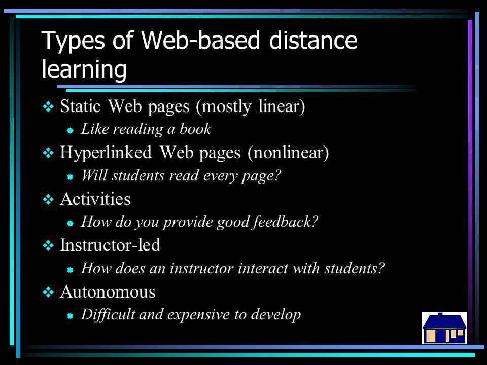 Types of Web-based distance learning  Static Web pages (mostly linear) ® Like reading a book  Hyperlinked Web pages (nonlinear) ® Will students read every page.