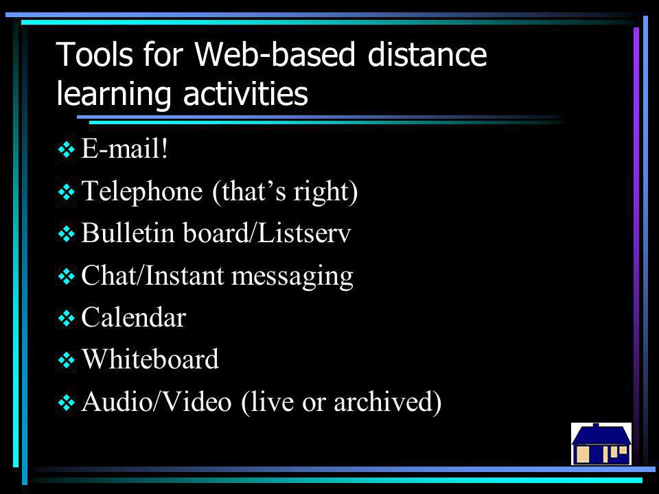 Tools for Web-based distance learning activities  E-mail!  Telephone (that's right)  Bulletin board/Listserv  Chat/Instant messaging  Calendar 