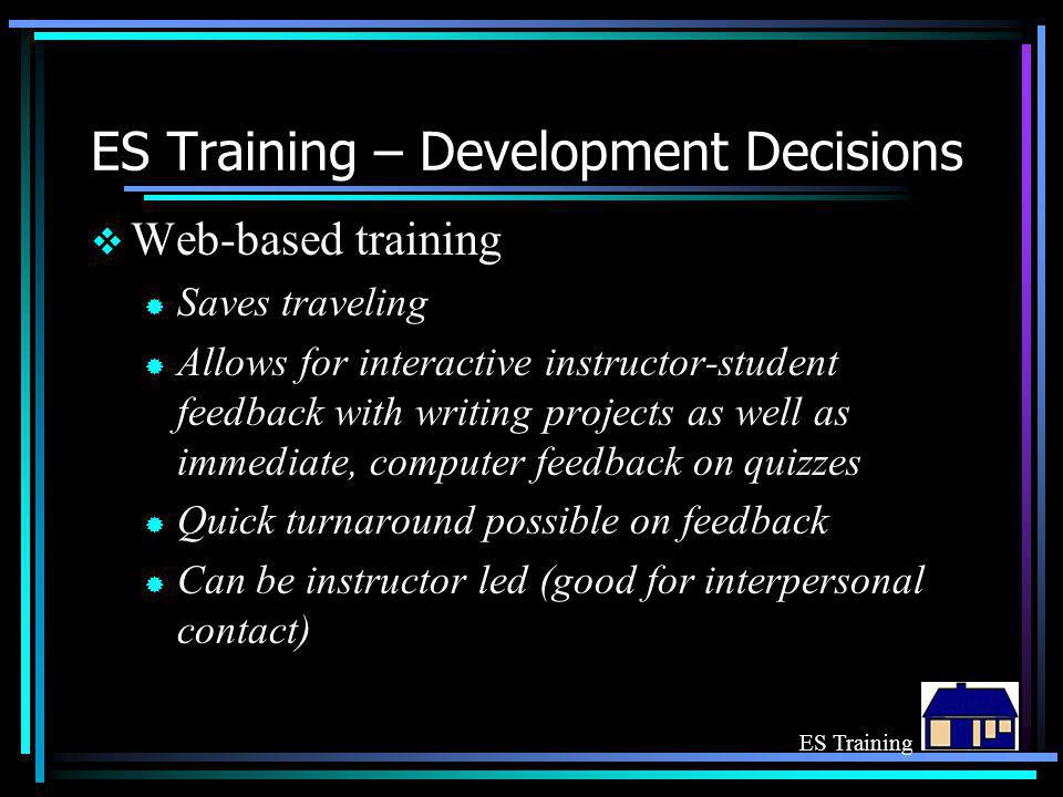 ES Training – Development Decisions  Web-based training ® Saves traveling ® Allows for interactive instructor-student feedback with writing projects