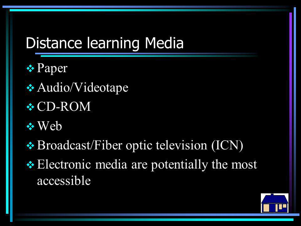 Distance learning Media  Paper  Audio/Videotape  CD-ROM  Web  Broadcast/Fiber optic television (ICN)  Electronic media are potentially the most