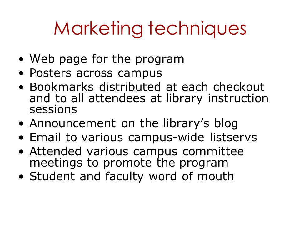 Marketing techniques Web page for the program Posters across campus Bookmarks distributed at each checkout and to all attendees at library instruction sessions Announcement on the library's blog Email to various campus-wide listservs Attended various campus committee meetings to promote the program Student and faculty word of mouth