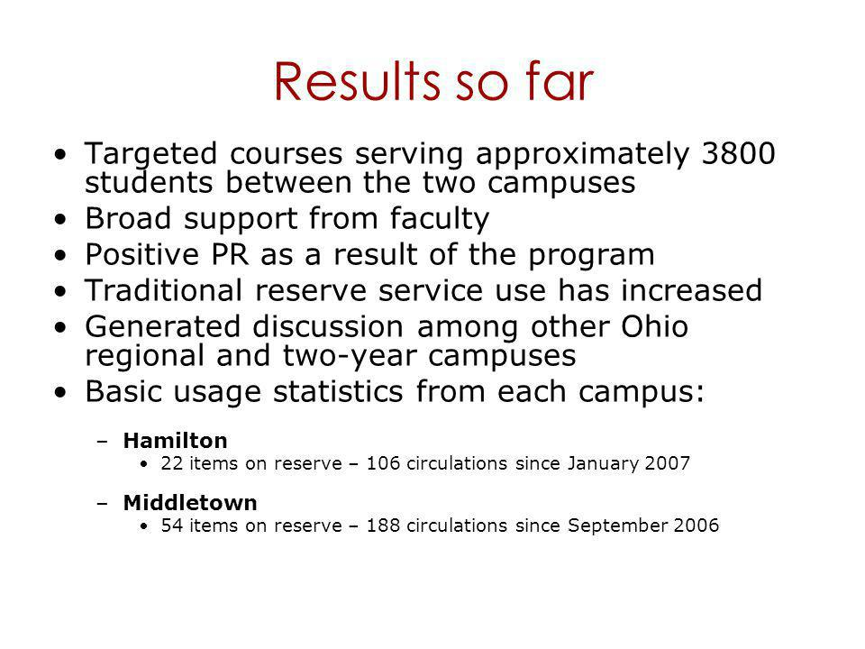 Results so far Targeted courses serving approximately 3800 students between the two campuses Broad support from faculty Positive PR as a result of the program Traditional reserve service use has increased Generated discussion among other Ohio regional and two-year campuses Basic usage statistics from each campus: –Hamilton 22 items on reserve – 106 circulations since January 2007 –Middletown 54 items on reserve – 188 circulations since September 2006