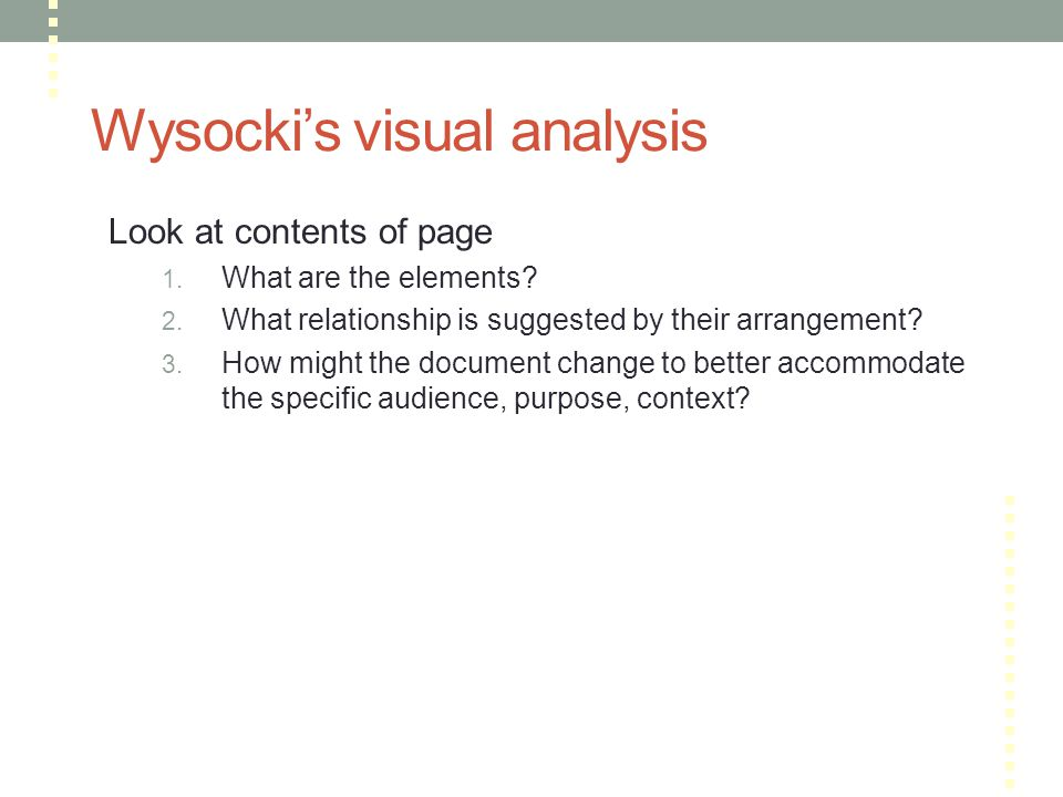 Wysocki's visual analysis Look at contents of page 1.