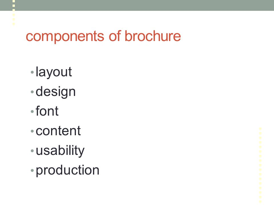 components of brochure layout design font content usability production